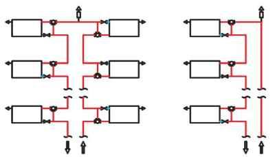 Схема системы отопления с клапанами Calis