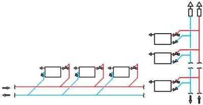 Схема системы отопления с клапанами Herz TS-90-V